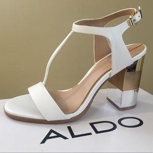 NIB Aldo Feltrone block heel white t-strap heels